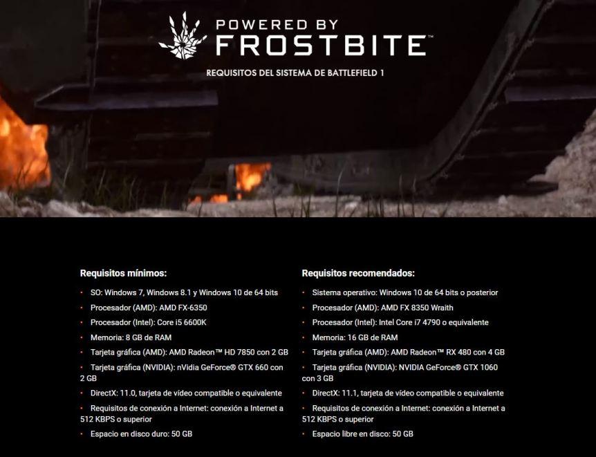 Battlefield 1 requisitos minimos