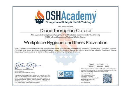 Workplace Hygiene and and Illness Prevention Certificate
