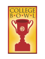Logo of College Bowl with red trophy and yellow background