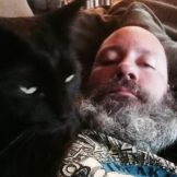Don from Tacos! with his cat Ronnie James Dio