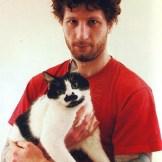 John from Sandrider with his cat Nelson (Photo by Alexandra Crockett from Metal Cats)