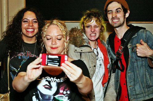 Wild Powwers pose for a selfie with Jess from Altfanclub.com. Photo Jim Toohey.