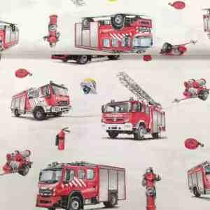 Baumwollstoff Feuerwehr Weiß
