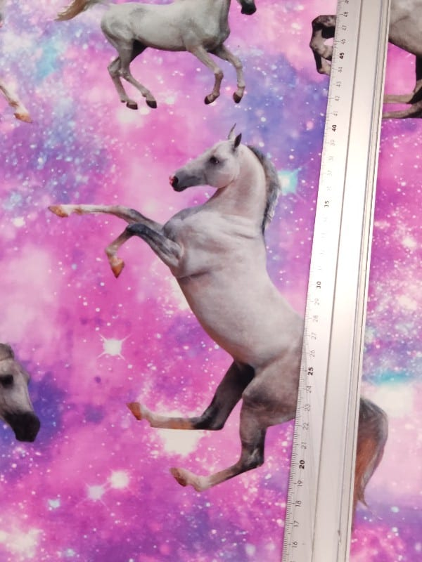 Jersey Digitaldruck Pferde Pink