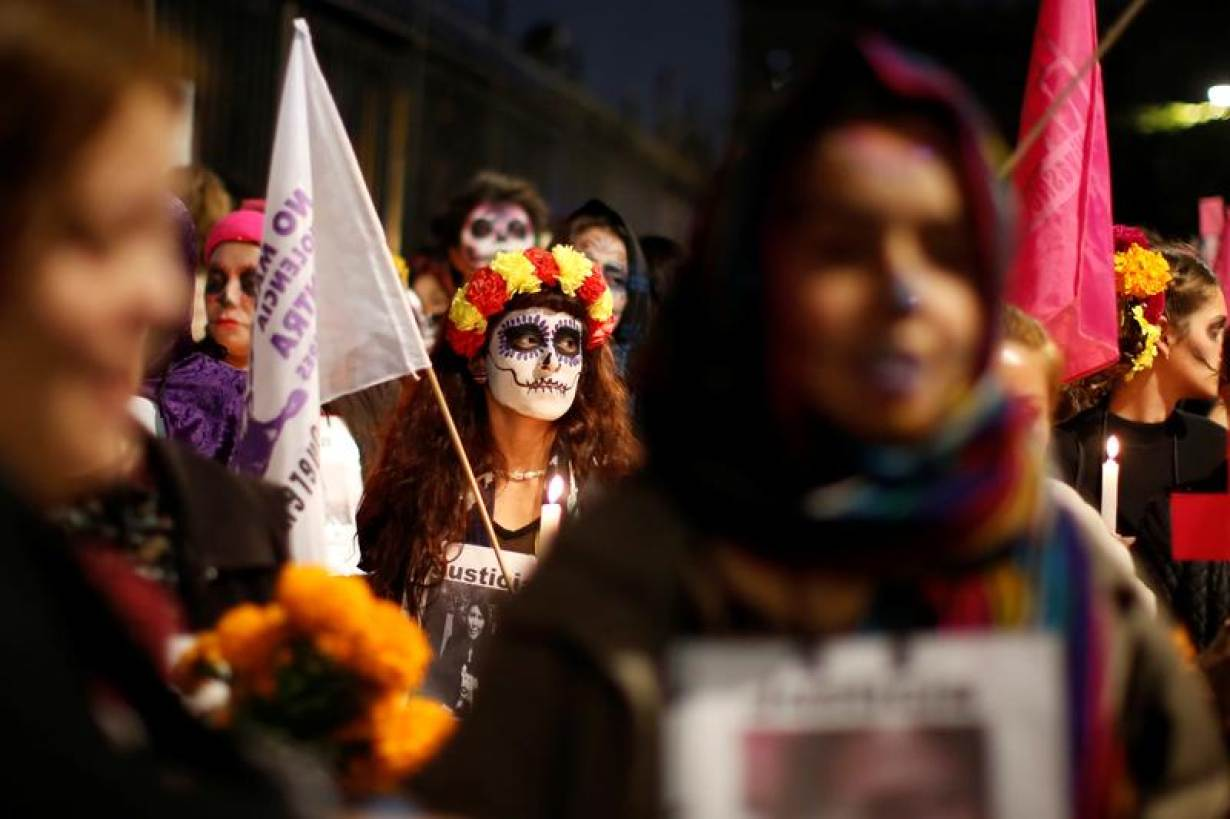 Mexican Women Protest Violence In Day Of The Dead March