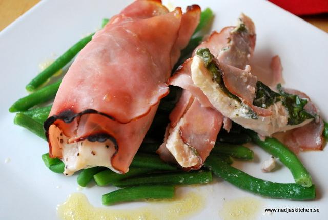 Skinklindad kyckling med färskost - smartpoints - viktväktarna - middag - kyckling