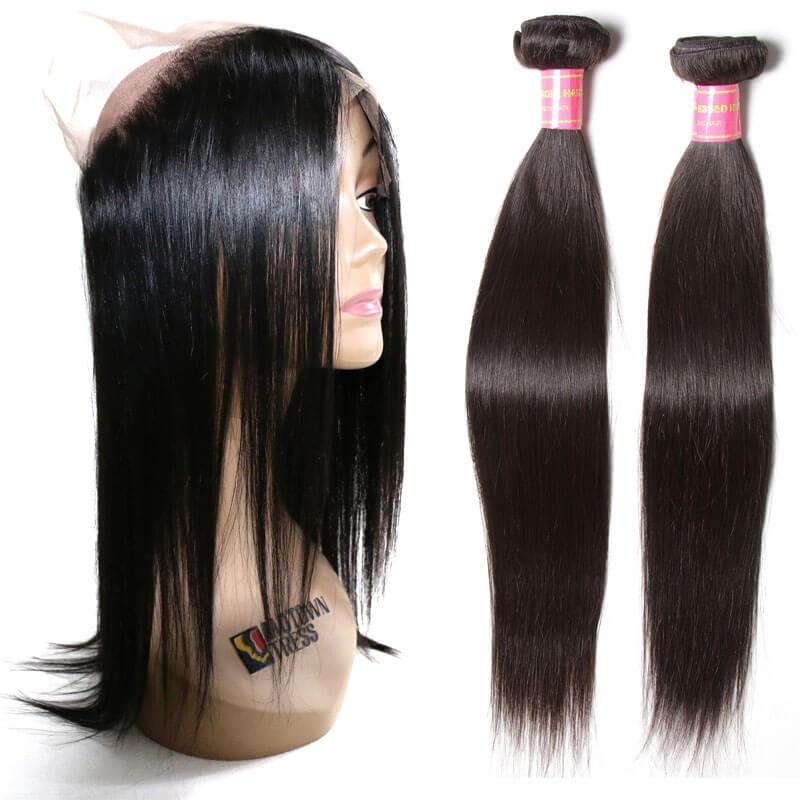 2pcs Straight Virgin Hair Weave Bundles With 360 Lace