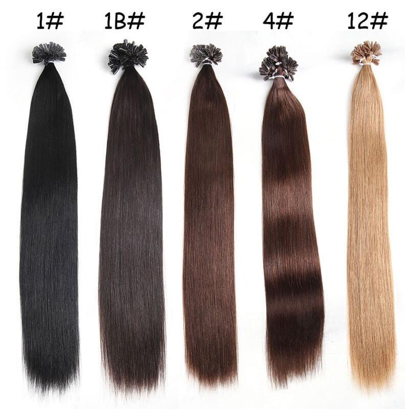 Nadula Pre Bonded Nail U Tip Fusion Hair Extensions Straight Brazilian Remy Human