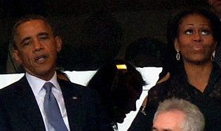 Barack and Michelle at Mandela Memorial Service