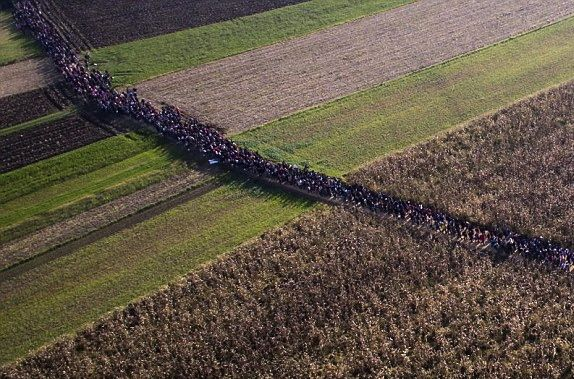 Migrants walking