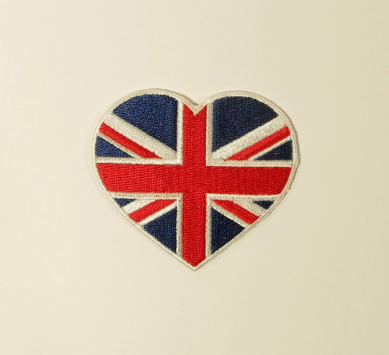 Bügelmotiv E Herz England