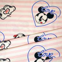 Kids Jerseystoff weiß rosa mit Mickeymouse Motiven