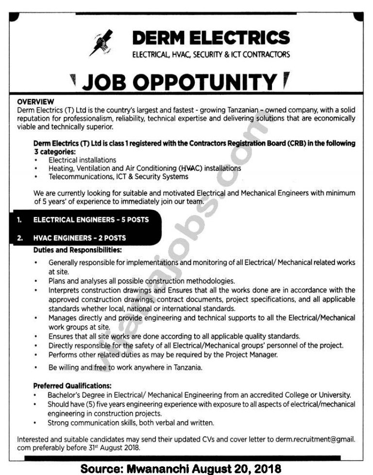 Job Opportunities at Derm Electronics (T) Ltd, Ectrical Engineers ...