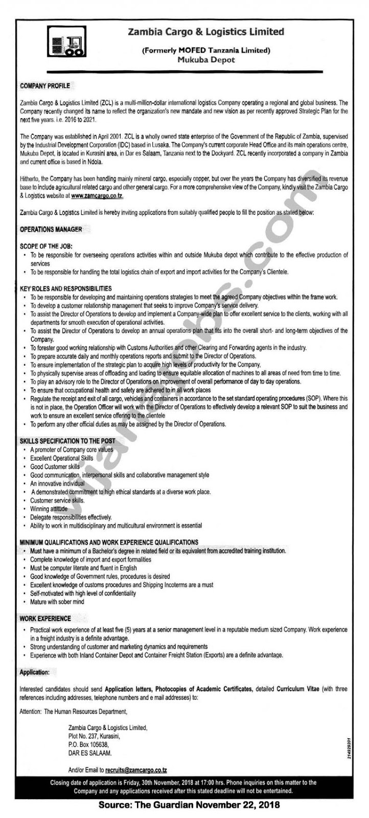 Job Opportunity At Zambia Cargo Logistics Ltd Operations Manager