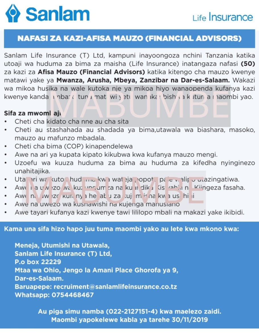50 Job Opportunities at Sanlam Life Insurance, Afisa Mauzo