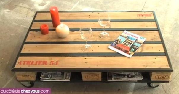 une table basse a roulettes avec 1 palette
