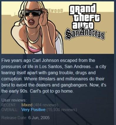 GTA SA Steam page