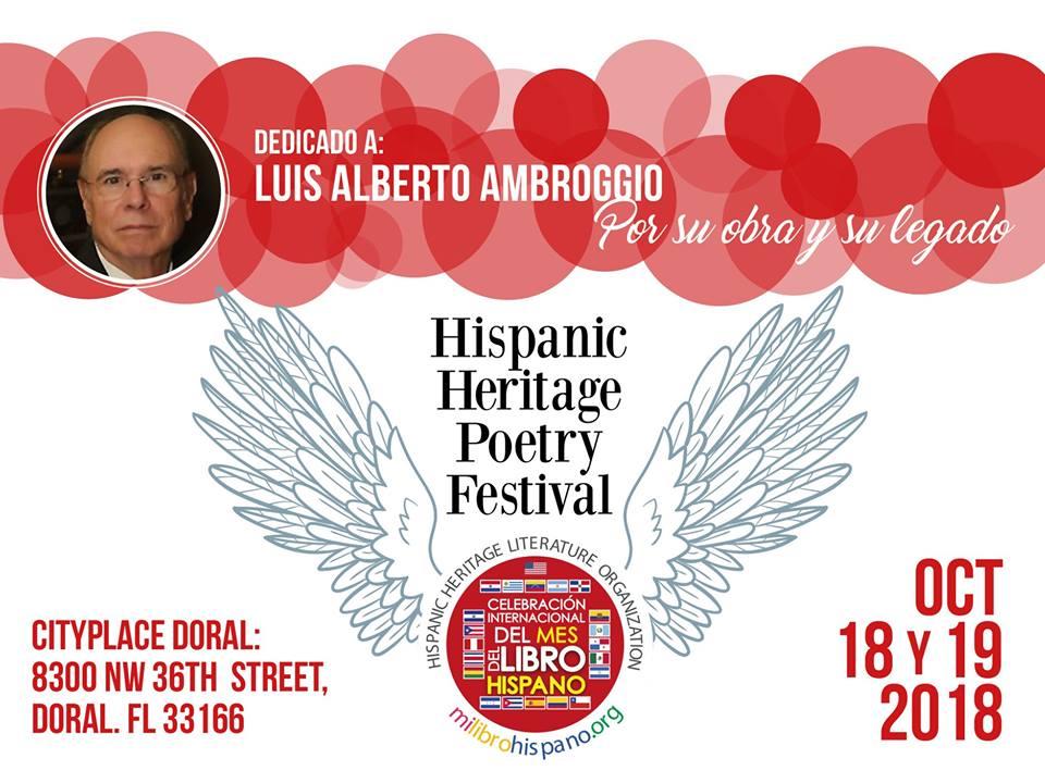 HHLO / Milibrohispano 1st. Hispanic Heritage Poetry Festival – Octubre 18-19, 2018