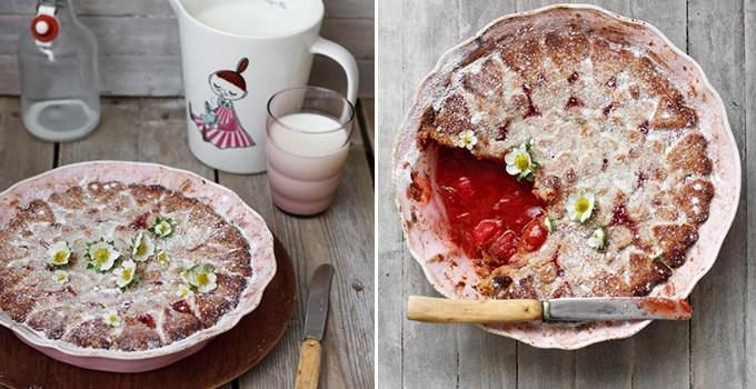Aardbeien en rabarbertaart