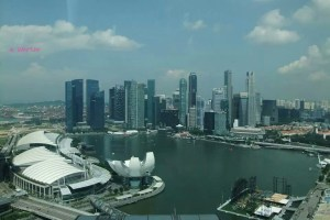Singapore Flyer - A view of the Marina Bay Financial Centre