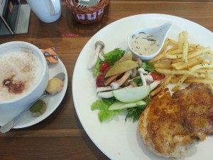 P. Bistro - My Order, Cappuccino & Roast Chicken with Mushroom Sauce
