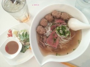 Pho Stop - My Order, Plum Lime Soda & Sliced Beef and Beef Ball Pho