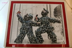 Art in Langham Place Hotel - Painting of Red Guards - Going Forward! Making Money
