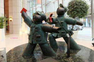 Art in Langham Place Hotel - Red Guards - Going Forward! Making Money, Front View