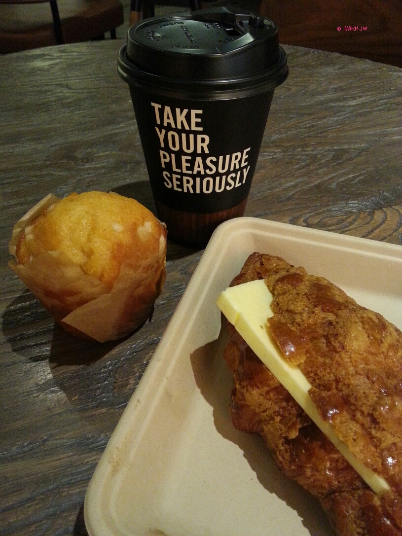 Urban Bakery Works - My Breakfast, Raspberry Jam Muffin, Ball Law Cowssant & Cappuccino