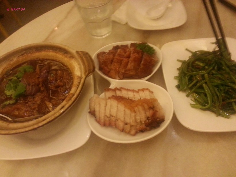 CH叉R (Char) - Our Dinner (from left to right): Minced Meat with Aubergine in Casserole, Double Roast (Roast Duck and Roast Crispy Pork Belly & Sambal Kang Kong