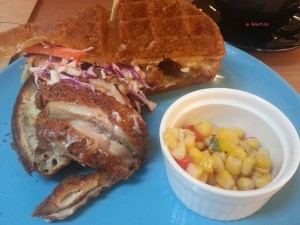 Montana Brew Bar - Southern Fried Chicken Waffle Sandwich with Wasabi Slaw