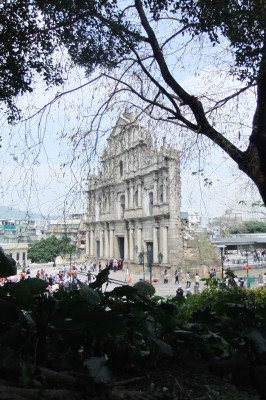 Macau Attractions - Ruin of St Paul from the Fortress