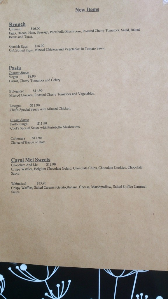Carol Mel Cafe - New Menu