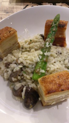 Three Little Pigs - Roasted Pork Belly with 3 Mushrooms Risotto & Parmigiano Shaving
