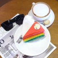 Avenue Cafe - My Order, Cappuccino & Rainbow Cake