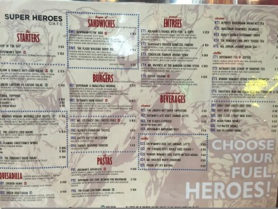 DC Comics Super Heroes Cafe - Dinner Menu