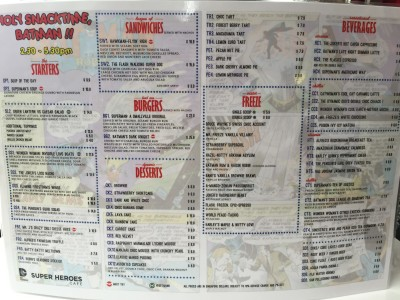 DC Comics Super Heroes Cafe - Tea-Break Menu