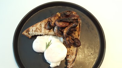 The Punch Cafe Singapore - Poached Eggs With Mushroom On Toast ($13)