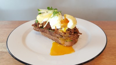 Rise And Grind Co On HollerOut App - Pulled Pork Benedict ($15)