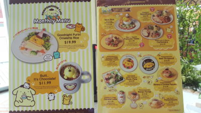 Pompompurin Cafe At Orchard Central, Singapore - Pompompurin Cafe Menu