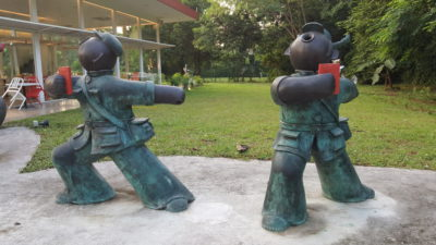 """MoCA Cafe At Loewen, Dempsey, Singapore -""""Red Guards, Going Forward,"""" by Jiang Shuo, bronze"""