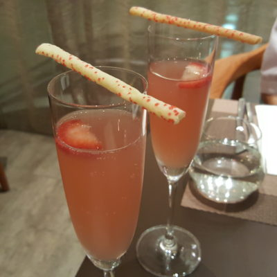 Time And Flow Champagne At Scotts Square, Orchard, Singapore - Welcome Drink (Strawberry and Mint Soda)
