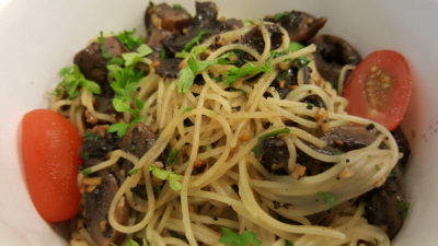 Pasta Meat Sauce At East Village, Tanah Merah, Singapore - Angel Hair Pasta wtih Truffle Oil and Mushroom ($13)