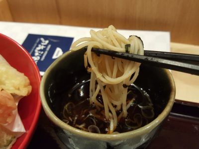 Yomoda Soba In Japan Food Town In Orchard, Singapore - Dipping Cold Soba in Seiro
