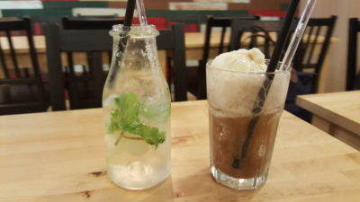 Rice & Fries Cafe at Kembangan, Singapore - Longan & Mint Soda ($6.80) and A&W Root Beer Float ($5.80)