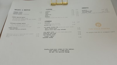 The Cold Pantry At New Location, 88 Rangoon Road In Farrer Park, Singapore - Menu