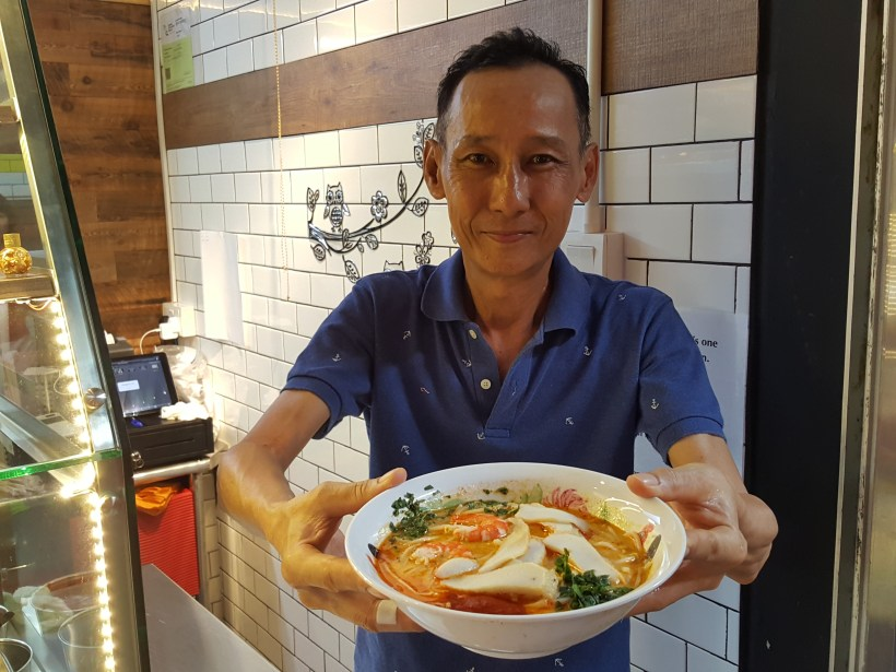 Roxy Laksa est 1952 Now At Timber+ In One North, Singapore - Uncle Mike and his laksa