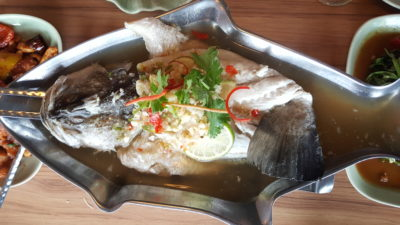 Thai Accent Restaurant At VivoCity - Steamed Seabass with Garlic, Chillies & Lime Sauce ($35.90)