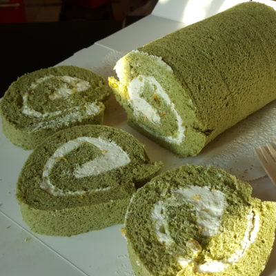 Dine Inn Community Portal For Home-Cooked Food With Love - Cally Leong, Matcha Swiss roll with passionfruit pulps ($8)