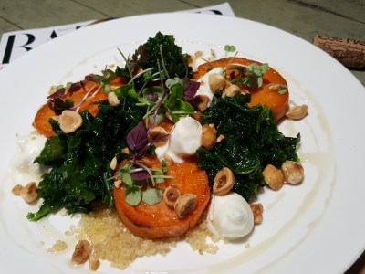 Tin Hill Social, Gorgeous Space With Delicious Food Near Perfection - Roast Sweet Potato, Goat's Cheese, Kale, Thyme Infused Honey, Quinao, Black Garlic Puree, Hazelnut ($24.50)